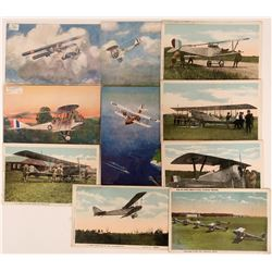 Lot of 10 U.S. Army WWI and UK Litho Bi-planes Pioneer Postcards  (116608)