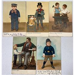 "Tuck Postcards, ""Little Men & Women"" Series, Children In Uniforms (5)  (111640)"