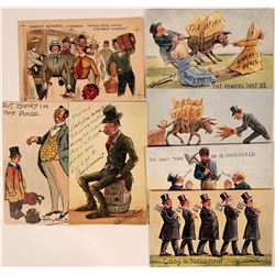 Political Cartoon Postcards (7) Includes Cynicus Set, Tuck Proof & Dudley Hardy  (111557)