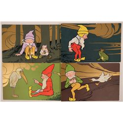 Set of 4 Art Cards Picturing Elves  (111579)
