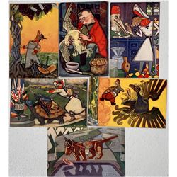 "Set of Six ""Aesop's Fables Up to Date"" Postcards by Tuck- F. Sancha, Artist  (111628)"