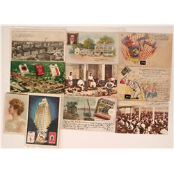Tobacco Card & Nine Ad Postcards  (116421)
