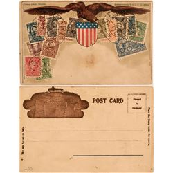 Rare German Postcard Covered in US Stamps  (115149)