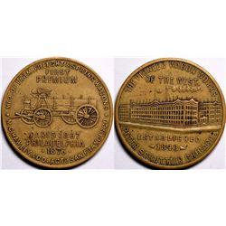 1870's Pioneer Wagon Works Peter Schuttler Chicago Brass Advertising Token  (116339)