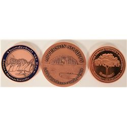 3 Copper Medallions from NW Territorial Mint  (109465)