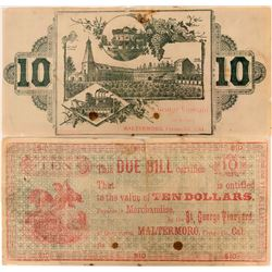 Rare $10 Fresno County Vineyard & Distillery Scrip Note  (115487)