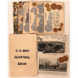 Coin Postcards from Different Countries Shows Metal Coinage (26) Plus U.S. Mint 25c Bag  (111564)