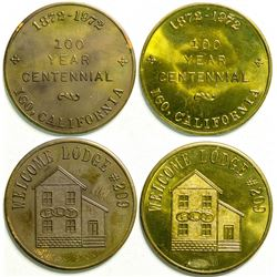 Two Centennial tokens of the IOOF/FLT Welcome Lodge #209 of Igo, Ca.  (109017)