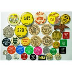 California Token Pinback and wooden nickel collection  (114826)