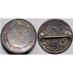 "Love Token ""L. H."" Engraved on Liberty Seated Quarter Pin  (116483)"