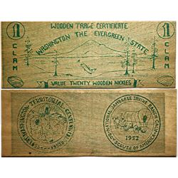 Washington Territorial Centennial Wooden Money  (114415)