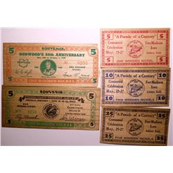 Midwestern Wooden Nickel Currency  (114405)