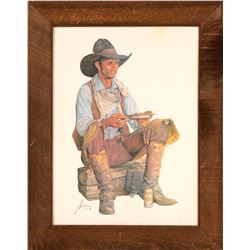 Cowboy Eating On Railroad Tie / Coors Beer Advertising Framed Print  (109620)