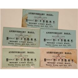 Five Tickets to the Silver City, Nevada IOOF Ball  (113188)