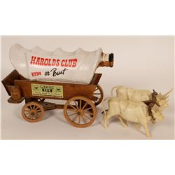 "Covered Wagon - Jim Beam Bourbon Whiskey Collectible Decanter ""Harold Club Reno or Bust"" with two ox"