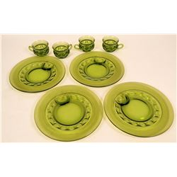 Set of four: Indiana Glass Company Kings Crown Thumbprint pattern, glass plates and cups - dark gree
