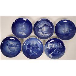 Set of six Blue Denmark Copenhagen Porcelain Plates Kongelig Hofleverandor Bing & Grondahl  (116240)