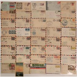 "Army Aviation Mail - Stamped red/blue military ""via Air Mail""group about 30-40 and one postcard  (11"