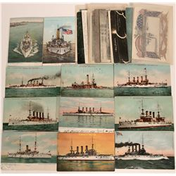 Post card Group- US Warships real photos about 2 dozen postcards, battleships, Carriers, others  (11