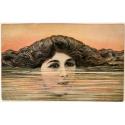 Art Nouveau Art Card Shows Woman with Head Half Submerged  (111574)