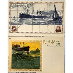 Two Red Star Steamer Postcards- Rare  (111624)