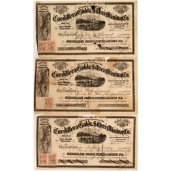 Cordillera Gold & Silver Mining Co. Stock Certificate Trio  (116710)