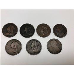 Lot Of 9 United Kingdom Pennies