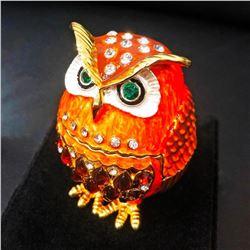 Faberge Owl Bejeweled Crystal Rhinestone Trinket Box Egg