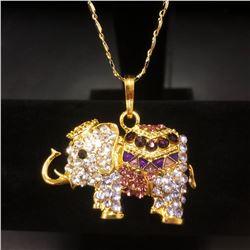 Bejeweled Purple And Gold Rhinestone Ganesh Chaturthi Elephant Pendant Paired With Necklace Marked 1
