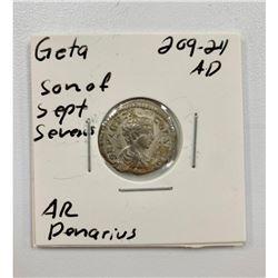 Geta, Son of Sept Severus - 209-211 A.D - Silver Denarius