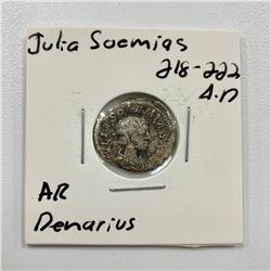 Julia Soemias 218-222 A.D - Silver Denarius