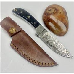 "7 1/2"" Black Wood Handled Damascus Hunting Knife With Stitched Leather Sheath"