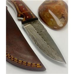 "8 1/2"" Inlaid Wood Handle Damascus Hunting Knife With Stitched Leather Sheath"