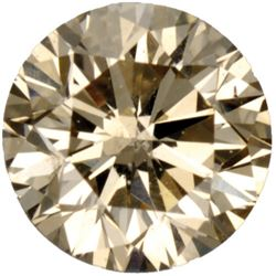 African Light Champagne Natural Fine Diamond -Round Cut - SI3-I1
