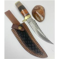 "10"" Inlaid Wood & Brass Handle Damascus Hunting Knife With Stitched Leather Sheath"