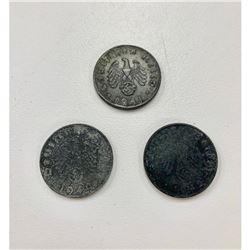 Lot of 3 1940-1945 10 Reichspfennig
