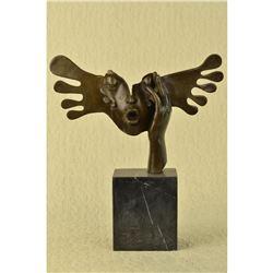 Signed Dali Abstract Female Sunshine Bronze Sculpture Marble Base Figure Statue