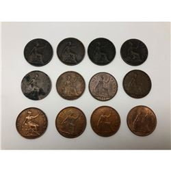 Lot Of 12 1880-1967 United Kingdom One Penny Coins