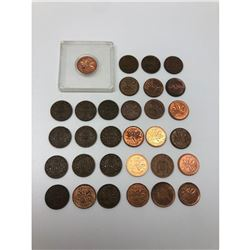Lot Of 30+ Canadian Pennies 1928-2011