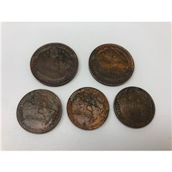 Lot Of 5 1939 Canadian Royal Visit Coins