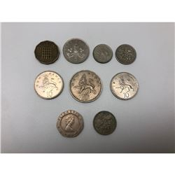 Lot Of 9 United Kingdom 3-20 Pence Coins