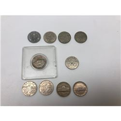 Lot Of 10 Candian And American 5 Cent Nickel Coins