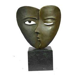 "Salvador Dali Tribute Bronze Dual Lovers Face Masks Duo Heart Shape 13"" x 9"""