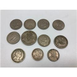 Lot Of 11 Assorted Foreign Coins