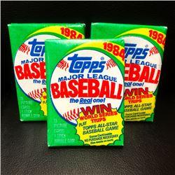 3 Vintage Topps 1984 Unopened Baseball Card Packs