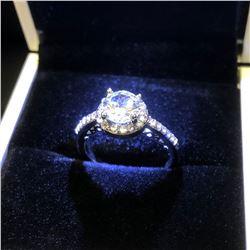 Ladies 925 Silver Marked 2 Carat Main Stone CZ Diamond Ring