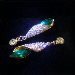 Ladies Gold Tone Long Eardrop Crystal Cubic Zircon Emerald Stud Earrings
