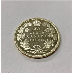 1908-1998 Proof F Mirror Finish Canadian 25 Cent Coin