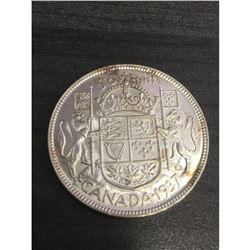 1937 MS63+ Silver 50 Cent Canadian Coin