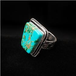 Turquoise Square Cut Ring with Silver Fitting
